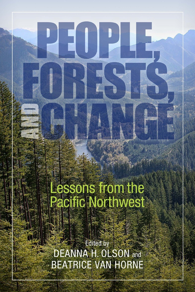Photo: Book cover features overview of lush forest. In the background are a winding river and a distant mountain range. Inset text of book title and editors.