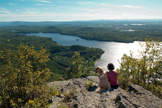 Spectacular view of Lake Dunmore and the Adirondack Mountains from the Rattlesnake Cliffs Trail.