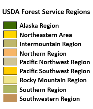 A legend that lists all Forest Service regions
