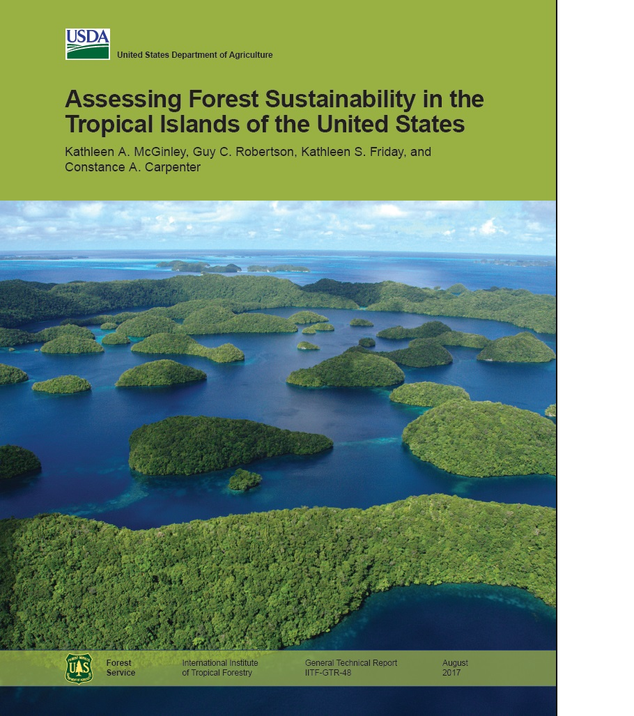 A picture of a report cover about forest cover in the U.S., using data from forest inventory surveys.