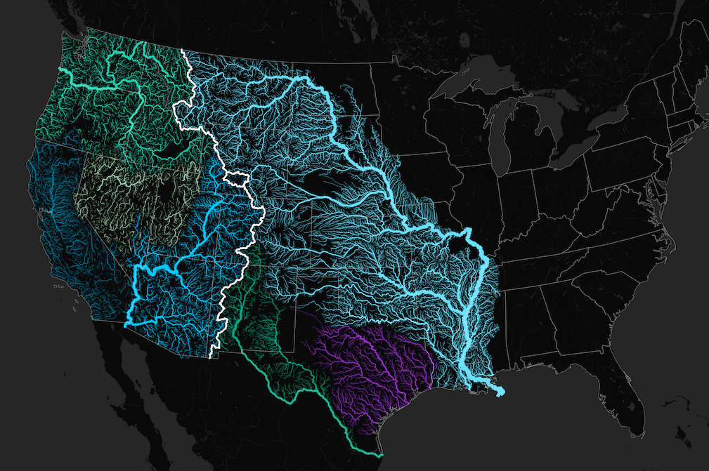 A map of watersheds and rivers flowing from the Continental Divide