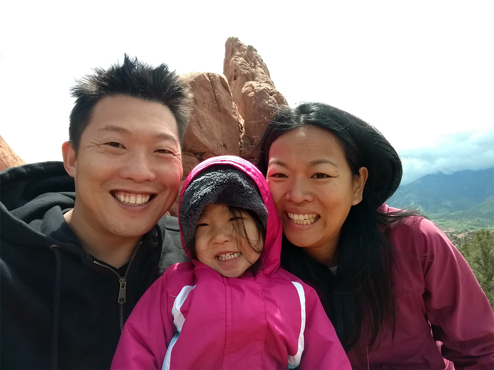 A photo of Sam with his daughter, Amelia Wu, and wife Ellen Shih, hiking in Colorado Springs, Colorado.