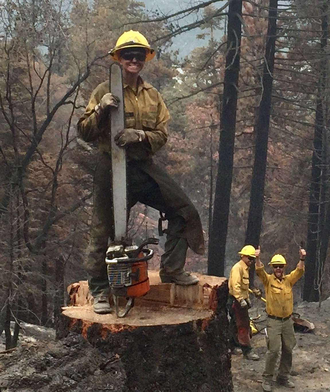Brown with members of her Heaps Peak Helitack crew clearing scorched hazard trees. USDA Forest Service photo.