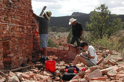 A photo of Archeologists work on the Silver Creek Archeological Project