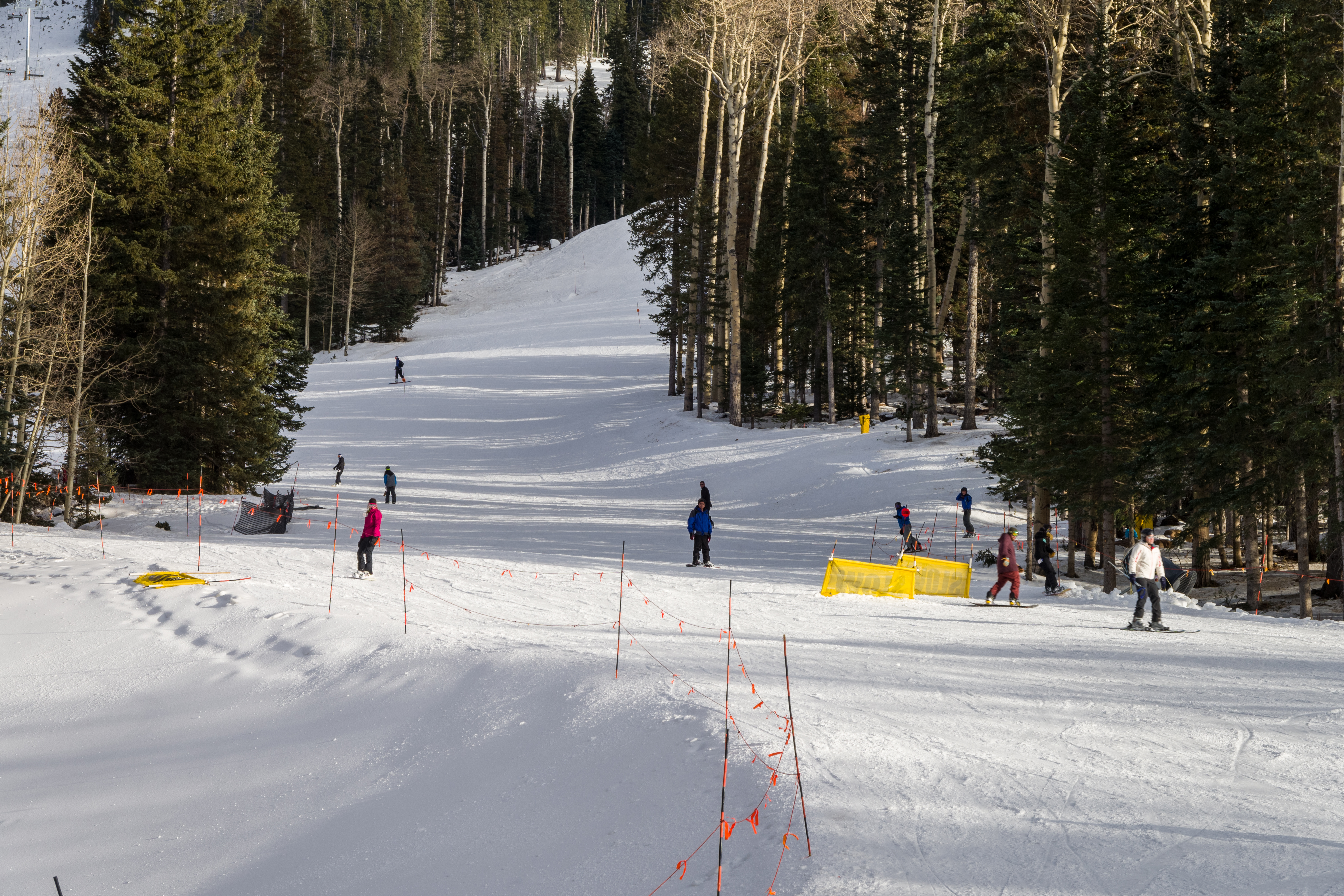 A picture of several skiers and snowboarders making their way down a ski run.
