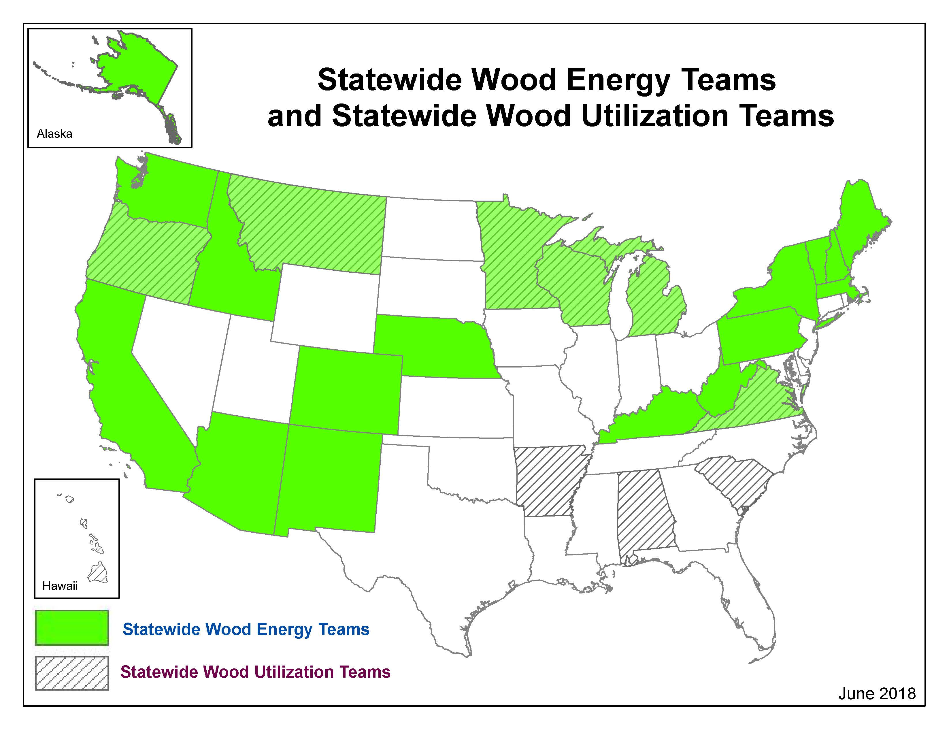 A graphic showing Statewide Wood Energy Teams and Statewide Wood Utilization Teams