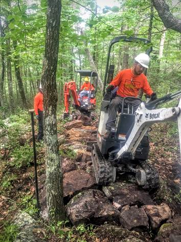 A photo of Volunteers constructing a trail