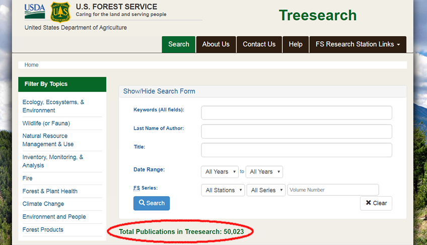 Image: Screen capture of Treesearch website. In a circle is the number of publication available: 50,523.