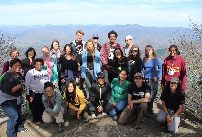 Students at Albert Mountain Fire Tower at the Coweeta Hydrologic Laboratory in Otto, North Carolina