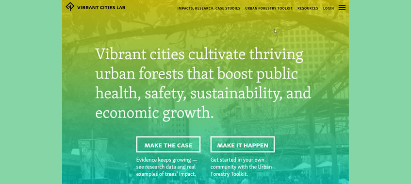 Vibrant Cities Lab home page screen capture.