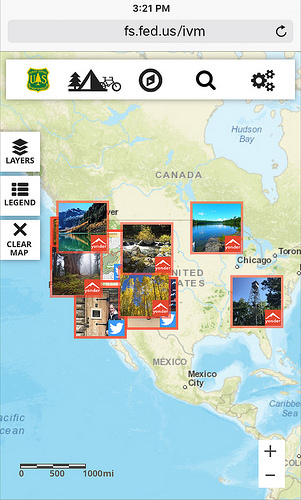 Visitor Map screenshot shows a sampling of Yonder images from national forests and grasslands throughout the country.