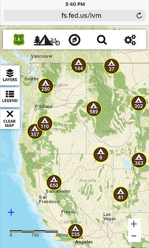 Visitor Map screenshot shows the number of camping opportunities throughout the Northwest.