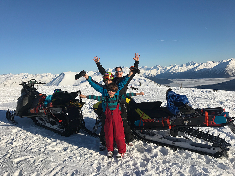 A photo of Wendy Wagner Having fun in the snow with her Alaska family