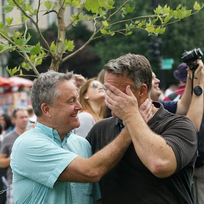 A photo of Robert Westover and Tom Fulton react to the Court's ruling legalizing gay marriages throughout the nation.