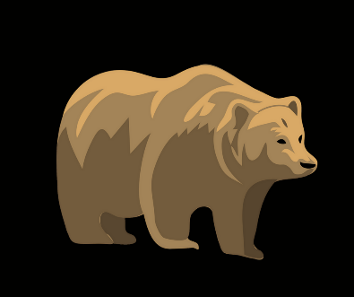 A graphic of a brown bear