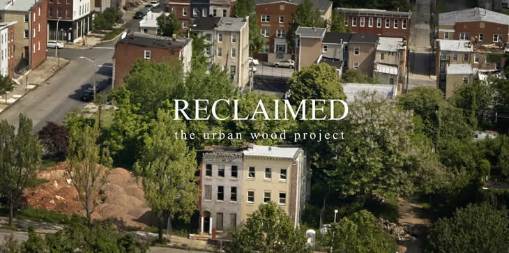 An image that shows several houses in Baltimore, MD with the words Reclaimed, the urban wood project on it.