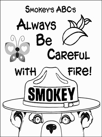 An illustrated coloring page Smokey Bear, careful with fire