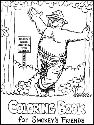 An illustrated coloring page Smokey Bear, friends