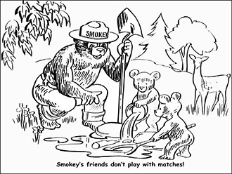 An illustration of Smokey Bear and cubs