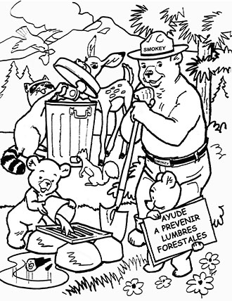 An illustration of Smokey Bear dousing a fire in spanish