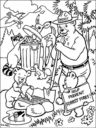 An illustration of Smokey Bear dousing a fire