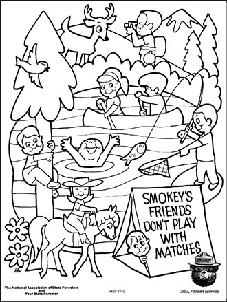 An illustrated coloring page Smokey Bear, lake