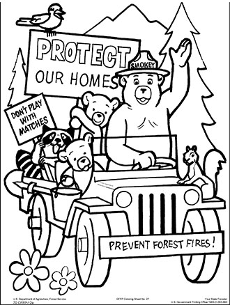 An illustrated coloring page Smokey Bear, Protect your Home