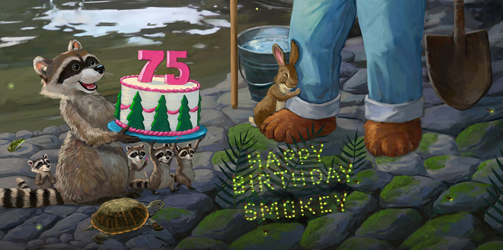 A graphic of a raccoon holding a birthday cake with candles representing 75 years for Smokey Bear.