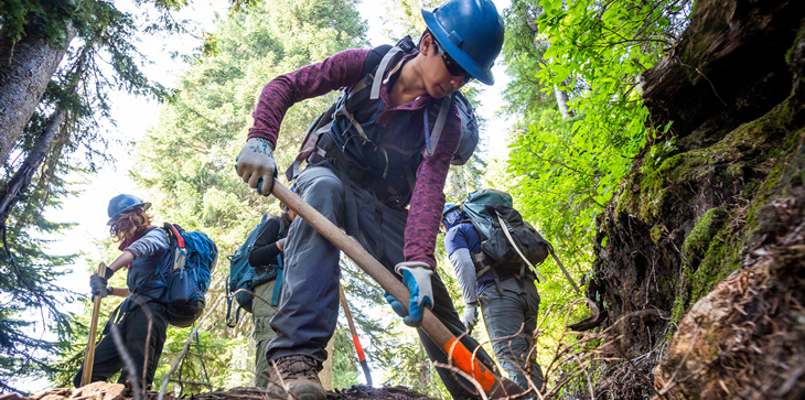 A picture of several trail crew workers, working on a trail in the woods surrounded by trees.