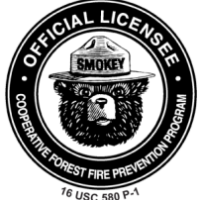 Smokey Bear license logo with Smokey Bear in center of circle