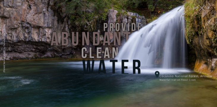 """A picture of a waterfall and with the words, """"Provide abundant, clean water"""" on the graphic."""