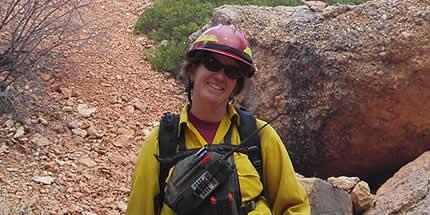 A picture of Amanda McAdams on the Sunset North Prescribed Fire, Dixie National Forest.