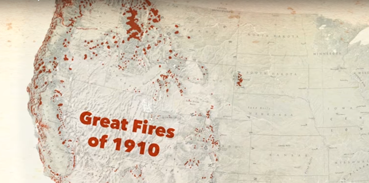 A picture of a map of the Western United States with the words Great Fires of 1910.