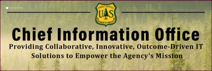 A graphic with the text of Chief Information Office, providing collaborative, innovative, outcome-driven IT solutions to empower the Agency's mission.