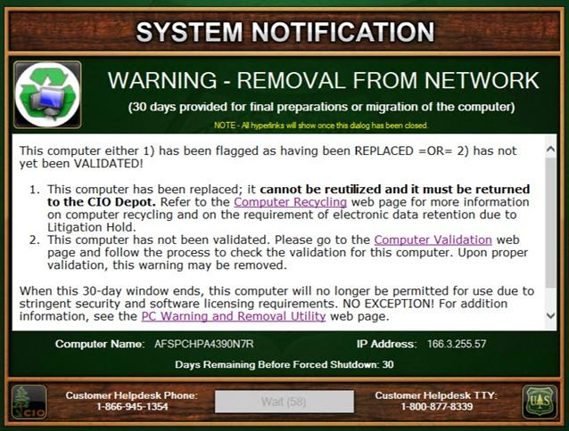System Notification Warning Utility