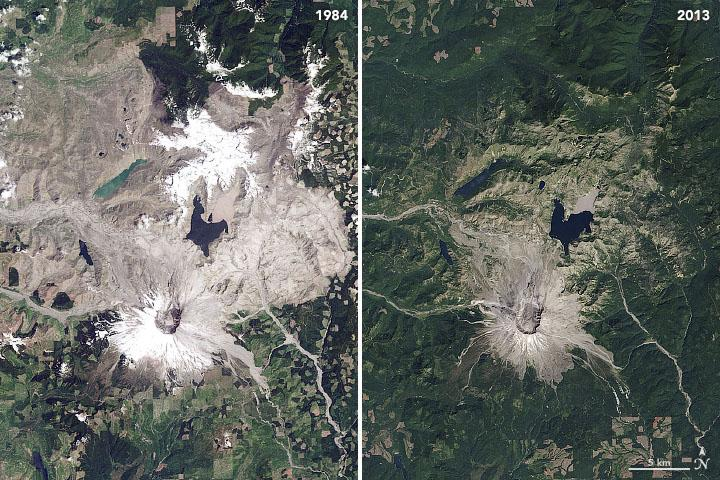 Landsat overview of Mt. St. Helens in 1984 and 2013.