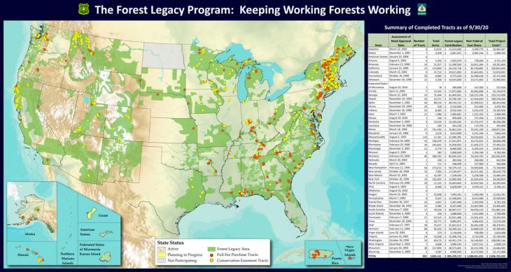 Forest Legacy Status Map of the United States