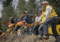 Members of the Highway 89 Stewardship Team ceremonially broke ground in early May to begin construction on two wildlife underpasses in northeast California. Photo credit: Sagehen Creek Field Station