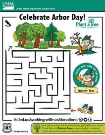 An illustration of Arbor Day tree maze