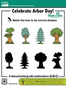 An illustration of Arbor Day match the tree
