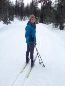 Laurie enjoys cross-country skiing in her spare time. Here she is on the Deschutes National Forest in Oregon. Schoonhoven family photo.