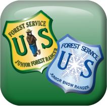 A square graphic of a snow ranger and forest ranger badge