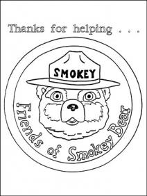 An illustrated photo of Smokey saying thank you