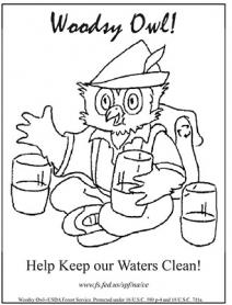 An illustration of Woodsy Owl color page, clean water