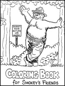 Color the outdoors us forest service for Smokey the bear coloring pages