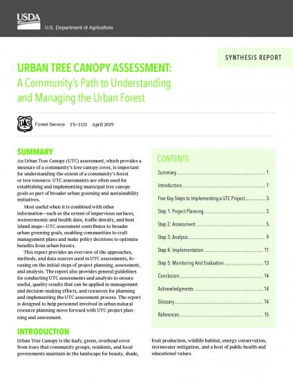 Urban Tree Canopy Assessment Paper - Cover Page