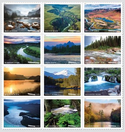 A picture showing a collection of stamps with wild and scenic rivers on them.