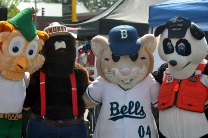 Group phot of four mascots