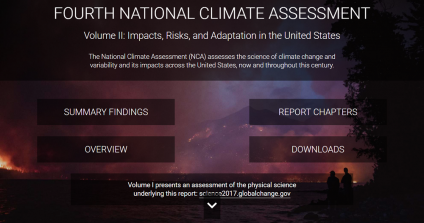 A picture of the Fourth National Climate Assessment website.