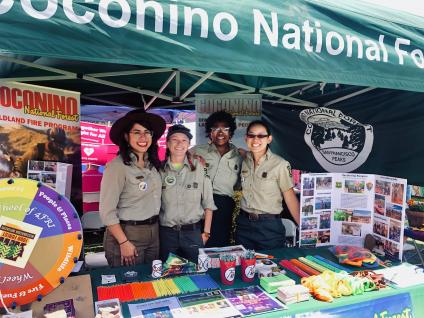 Employees of Coconino National Forest gather for a group photo at the Pride in the Pines festival in Flagstaff, Arizona, on June 22.